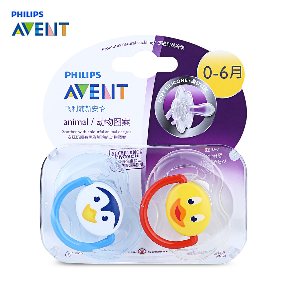 AVENT 2Pcs Silicone Nipple 0-18 Months Dummy Baby Soother Toddler Orthodontic Nipples Teether Baby Boy Cartoon Pacifier Care baby pacifier soother silicone dummy baby biter teether soother nipples t026