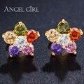 Angel girl Роскошные Ювелирные Изделия mulit цветок bling звезда Кристалл Серьги Позолоченные для женщин Подарок Рождественский Подарок Bijoux