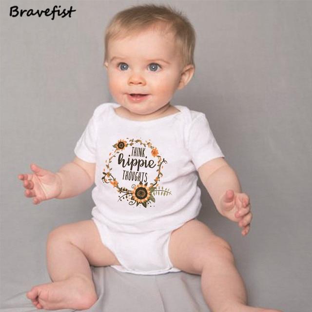 d61d2e391 Sunflower Print Newborn Bodysuits Short Sleeve Infant Clothes For ...