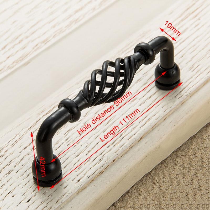 KAK винтажные антикварные бронзовые ручки для шкафа, полые ручки для птичьей клетки, ручки для выдвижных ящиков, Съемники дверей шкафа, Мебельная ручка - Цвет: 3001-96 Black