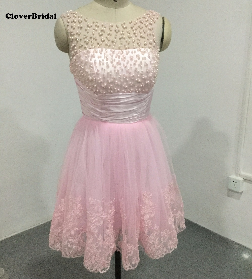 Hot sale sleeveless tulle short A-line cheap rose pink robe de   cocktail     dresses   with pearls lace appliques white homecoming