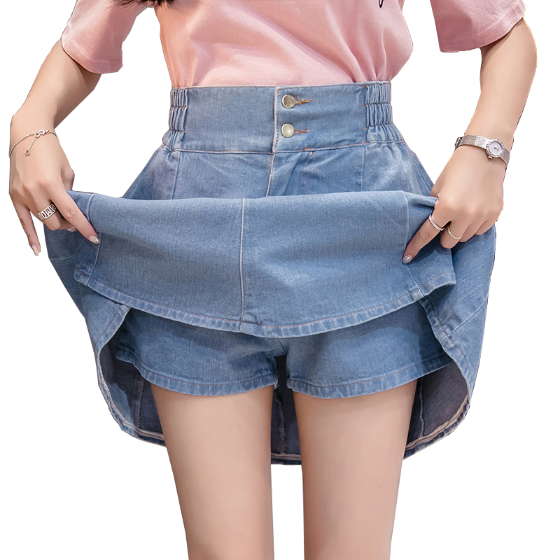 1458 Pleated Denim Skirts Women High Waist A Line Mini Jeans Skirts Ladies Sexy Plus Size Korean Style Summer in Skirts from Women 39 s Clothing
