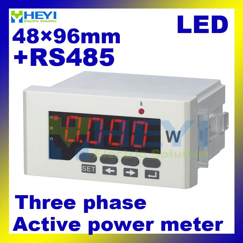 3 phase LED digital Active power meter with RS485 communication 48*96 mm Class 0.5 three phase digital panel meter