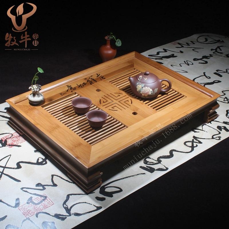 The Mixed Batch High-grade Bamboo Tea Tray Auspicious 50*36*8 Kung Fu Tea Gift Custom LOGO