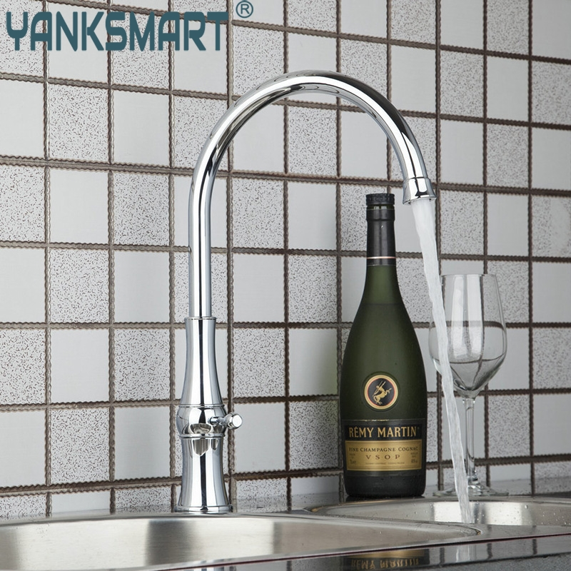 Brand New Deck Mounted Single Hole Chrome Finish Swivel Kitchen Basin Sink Faucet Tap Mixer pull down deck mounted single handle single hole chrome finish bathroom basin faucet sink mixer tap
