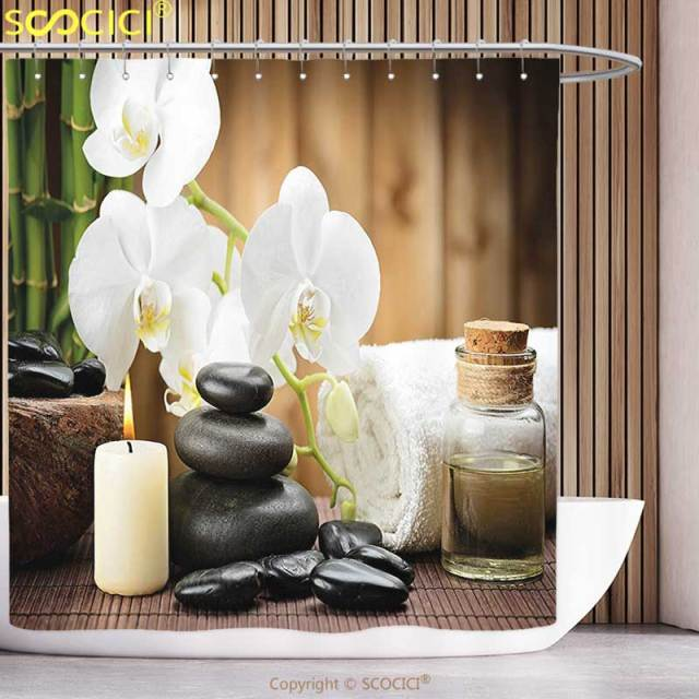 Polyester Shower Curtain Spa Decor Asian Spa Style Decoration With Zen Stones Candle Flowers And