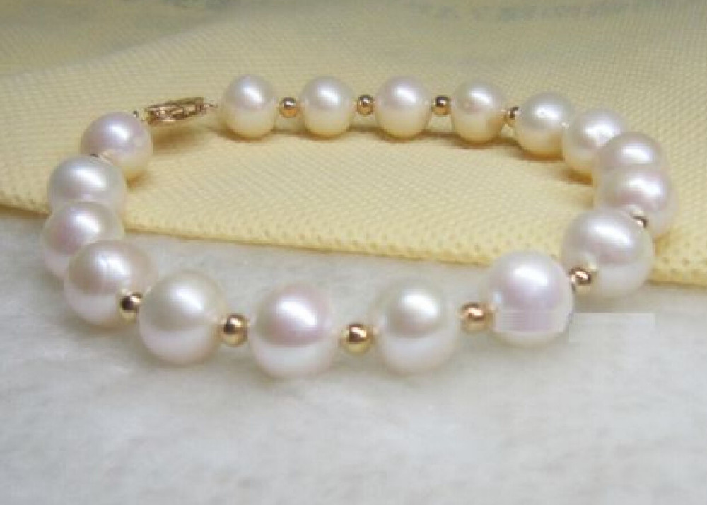10-11MM SOUTH SEA WHITE NATURAL PEARL BRACELET 7.5-8 YELLOW SUNFLOWER CLASP sea horse 1 5 1 8