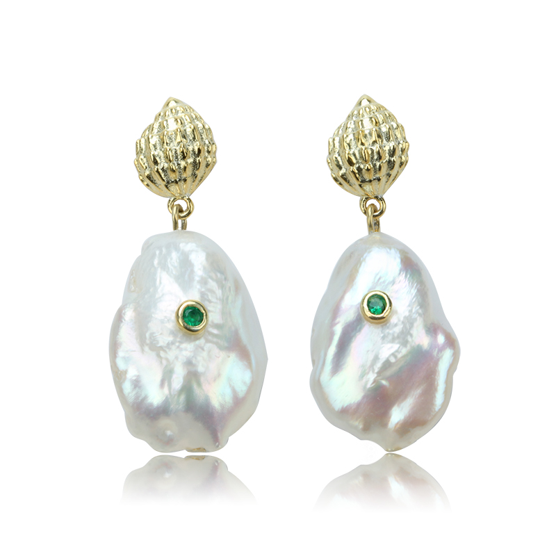 58e29e3be7b1 Perlas de Plata de Ley 925 pendientes de moda Perla Barroca pendientes con  diamantes corte estilo mujer pendientes de joyería ECL