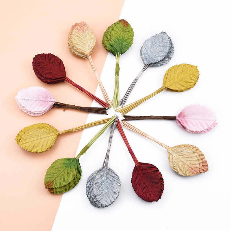 12pcs Christmas Leaves Decorative Flowers Wreaths Silk Leaf Scrapbooking Home Decor Accessories Diy Gifts Box Artificial Plants