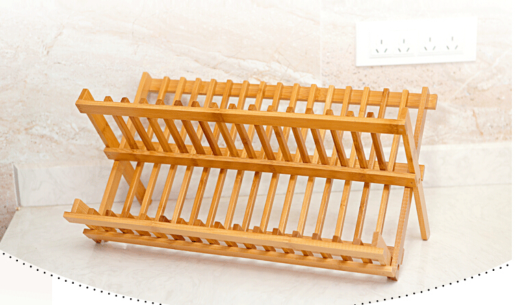 Support à vaisselle en bambou ustensiles de cuisine étagère de rangement égouttoir - 3