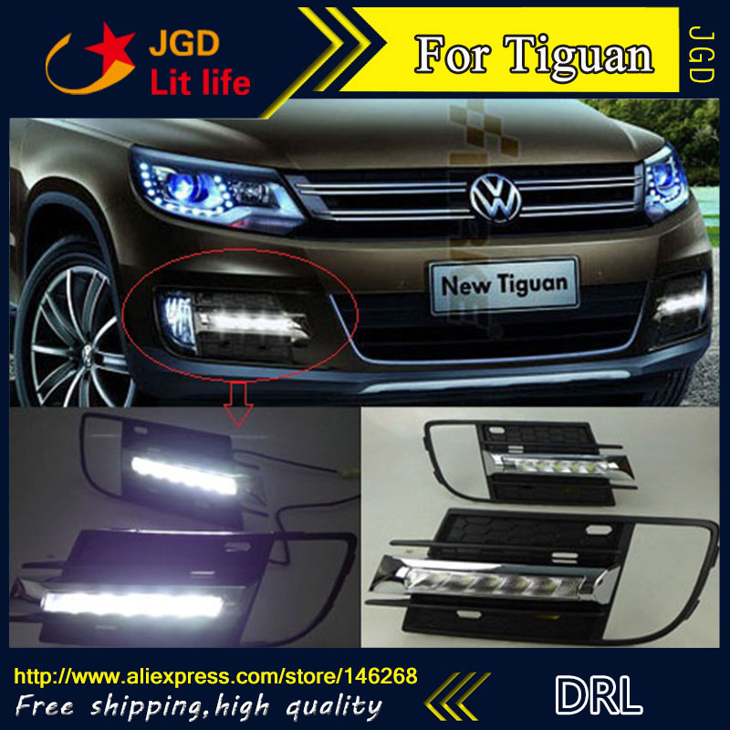 Free shipping ! 12V 6000k LED DRL Daytime running light for VW Tiguan 2013 fog lamp frame Fog light Car styling