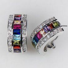 Morganite Blue Crystal Zircon Garnet Pink Kunzite 925 Sterling Silver Earrings KE07