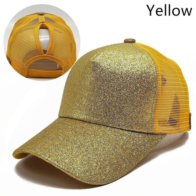 Sequins Glitter Golf Cap Women Ponytail Punched Rear Opening Golf Hat Mesh Breathable Baseball Sun Caps Sport Hat gravity falls 3