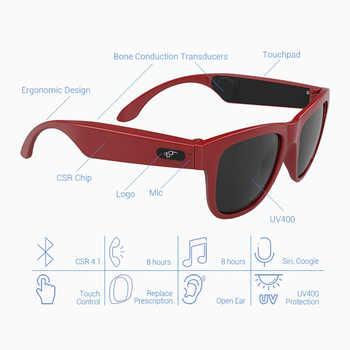 BGreen Bone Conduction Bluetooth Smart Sport Headphone Sunglasses Wireless Stereo Audio Sunglasses Sports Headset Earphone