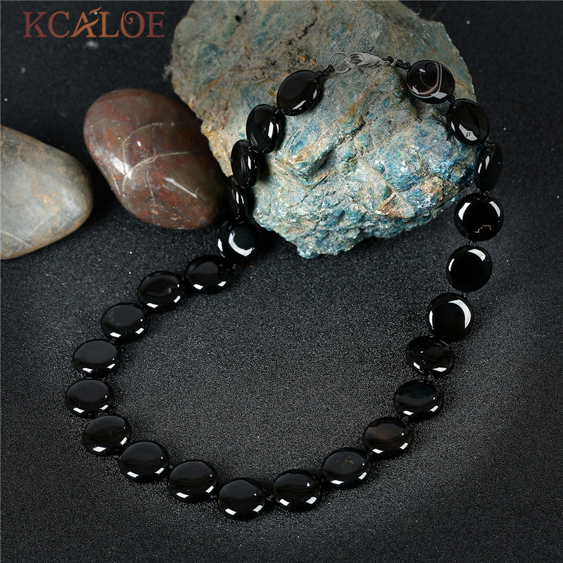 KCALOE Black Onyx Fashion Necklaces For Women 2017 New Jewelry Round Design Hand