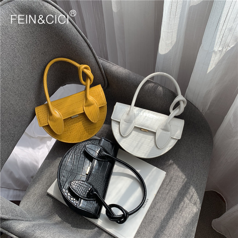 Saddle bag animal print alligator leather half moon chains messenger crossbody bag women white black yellow 2019 summer chic bag-in Top-Handle Bags from Luggage & Bags on AliExpress - 11.11_Double 11_Singles' Day 1