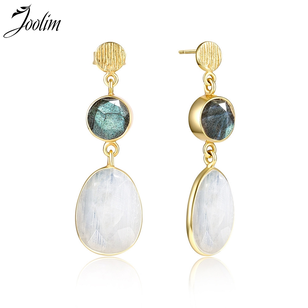 Joolim Rainbow Moonstone Drop Earring Luxury Fine Labradorite  Earring High End Anti-allergy Earring Gift to MomJoolim Rainbow Moonstone Drop Earring Luxury Fine Labradorite  Earring High End Anti-allergy Earring Gift to Mom
