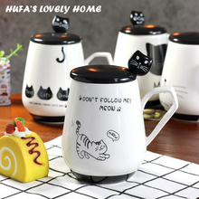 New Cat Style Ceramic Cups Cute Ceramic Coffee Mug With Special Lid Spoon Porcelain Tea Milk Mugs Cups Home Office Gift