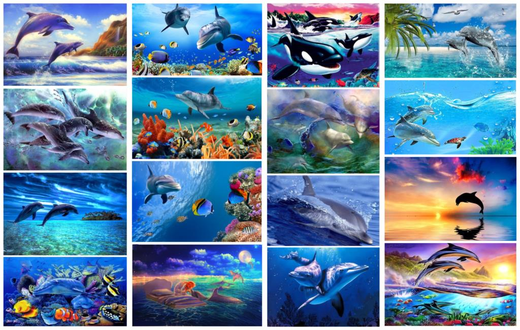 DIY 5D Diamond Painting Marine Animals Dolphin Diamond Mosaic Cross Stitch Diamond Embroidery Full Rhinestones Christmas Gift
