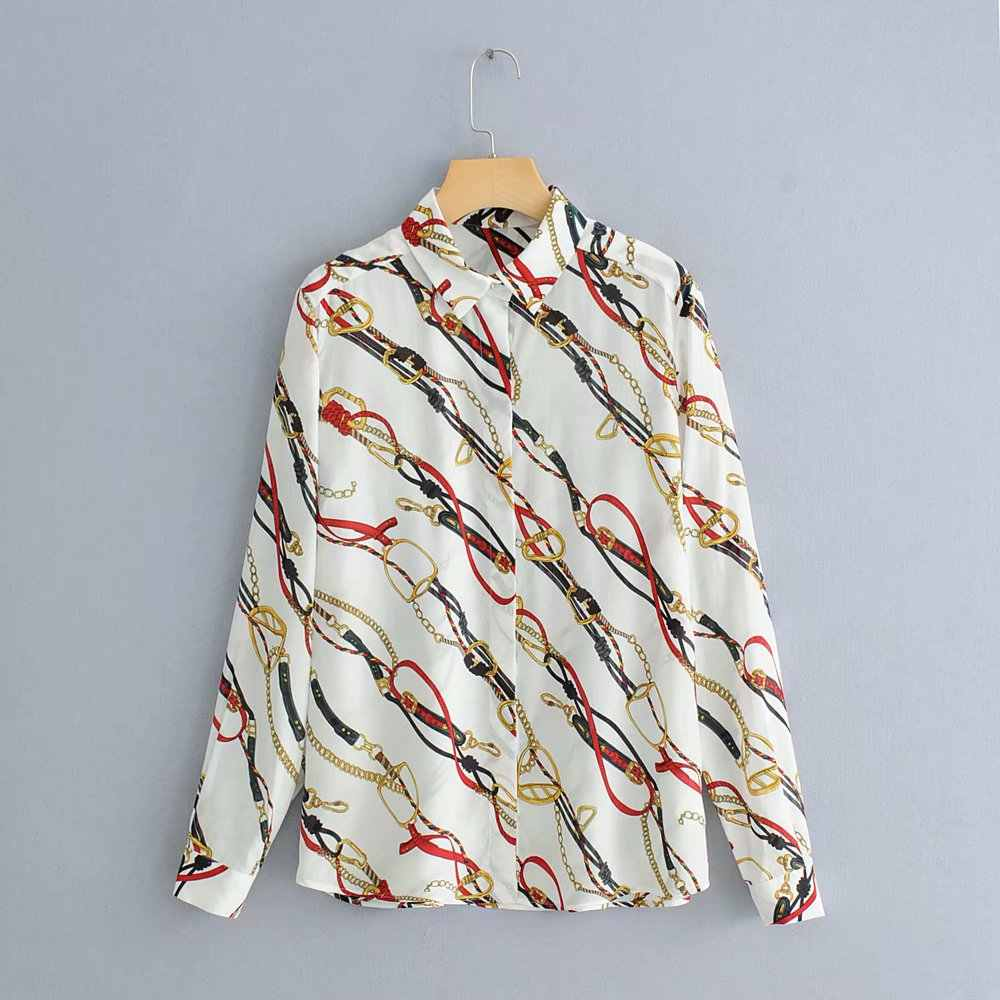 80eaa85f13 women fashion colorful chain print casual slim smock shirt blouses women  turn down collar business chic