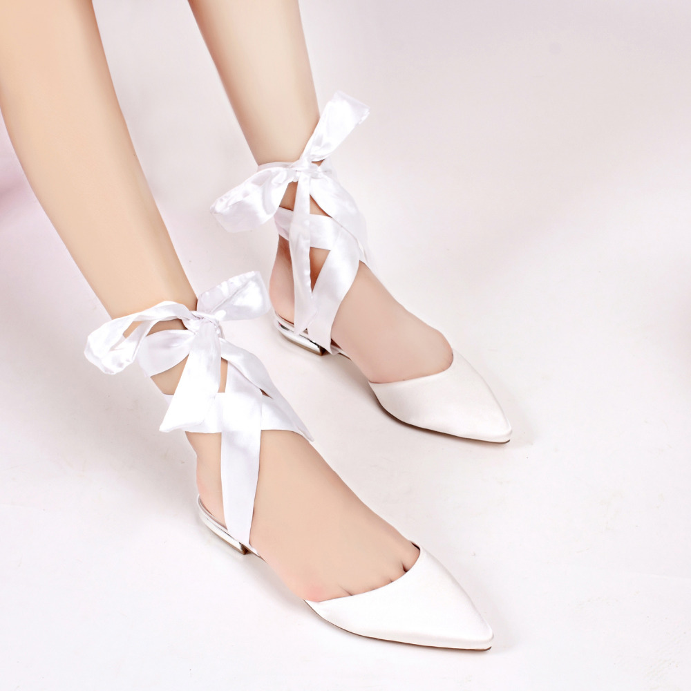 Creativesugar Pointed toe lady satin flats evening dress shoes ribbon tie  ankle strap bridal wedding party prom flat women shoes c5a816ec5616