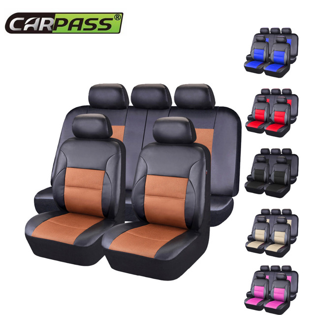 Car-pass  Universal Car Seat Covers Pvc Leather  Seat Covers Cushion Interior Accessories For Most Cars With 3 Zipper