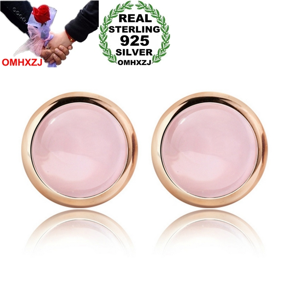 OMHXZJ Wholesale Fashion Jewelry Crystal Pink Natural Furong Stone Rose Quartz 925 Sterling Silver Round Stud Earrings YS118