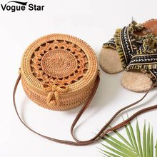 New Women Straw Bag Handmade Rattan Women Round Bohemia Style Beach Circle Bag Hollow Retro Kintted Bow Shoulder Bags CA16(China)