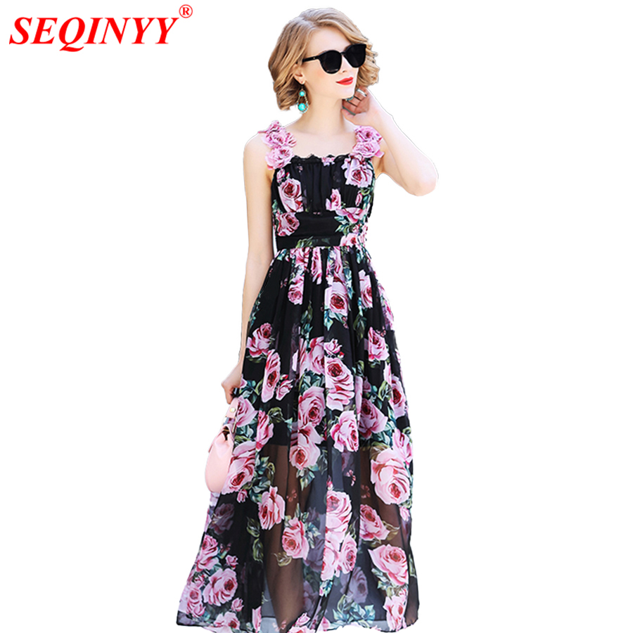 SEQINYY Summer Dress Fashion Runway 2018 New Arrival Appliques Lace Rose Flowers Printed A-line Black Elegant Chiffon Dress