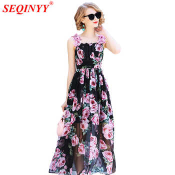 SEQINYY Summer Dress Fashion Runway 2018 New Arrival Appliques Lace Rose Flowers Printed A-line Black Elegant Chiffon Dress - DISCOUNT ITEM  39% OFF All Category