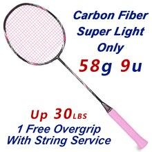 ESPER графитное волокно Ракка для бадминтона 58 Gram 9U супер легкий карбоновый ракет с нитью 30LBS Профессиональный тренажер для взрослых