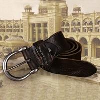 Men's Leather Belt Cowhide Brown Casual Men's Belt Buckle Youth Fashion Leather Belt PD66