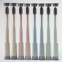 8 Pcs Sets Bamboo Charcoal Toothbrush Ultra Soft Nano Brush Oral Care Nano Antibacterial Toothbrush Black