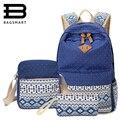 BAGSMART 3 Шт./компл. Женщины Холст Печати Рюкзак Школьные Сумки для Подростков Девушка Милые Bookbags Ноутбук Рюкзаки Женщины Bagpack