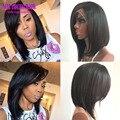 7A Peruvian Human Hair Short Bob Wig Glueless Bob Lace Front Wigs With Side Bangs Full Lace Human Hair Bob Wigs For Black Women