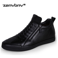 Zenvbnv бренд микрофибры Обувь кожаная для девочек новый модный стиль мягкие весенние молнии Для мужчин повседневная обувь высокие черные муж...