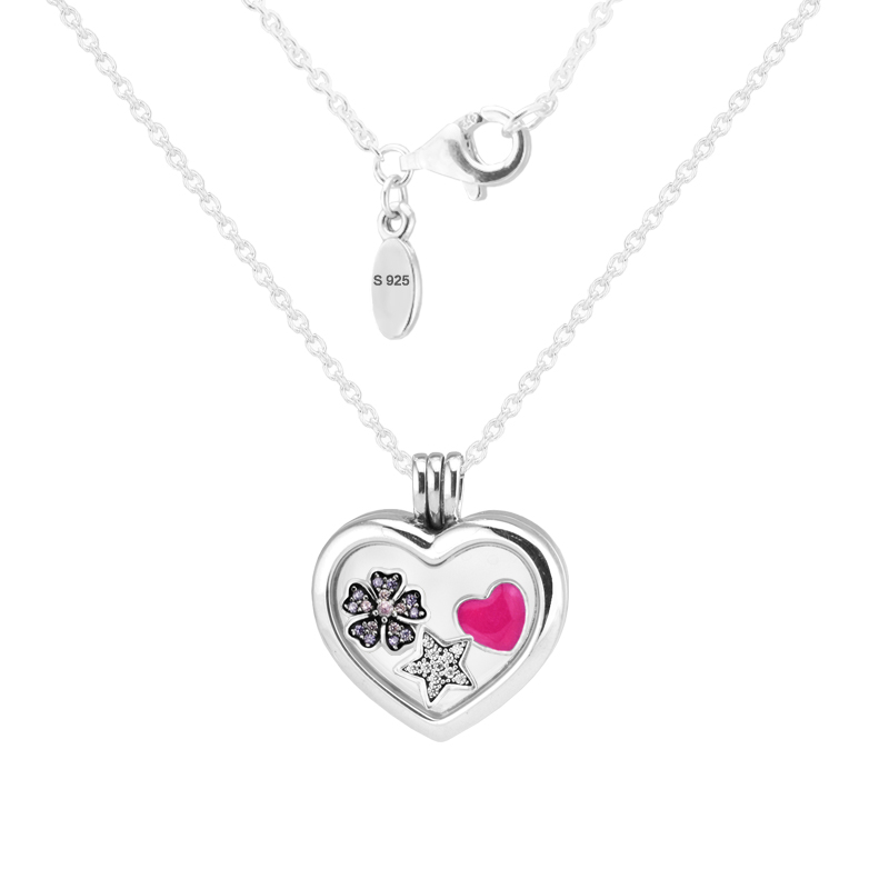 100% 925 Sterling-Silver-Jewelry 60cm Large Floating Locket Heart Pendant and Necklace Free Shipping 100% 925 Sterling-Silver-Jewelry 60cm Large Floating Locket Heart Pendant and Necklace Free Shipping