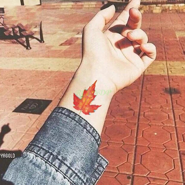 Tatuaje Temporal Impermeable Amarillo Hoja De Arce Pegatinas Tatto