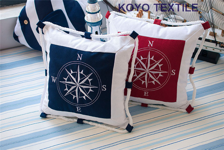 Charmant Printed Mediterranean Style Cotton Canvas Compass Rope Ocean Navigation  Nautical Decorative Cushion Cover Throw Pillows Case In Cushion Cover From  Home ...