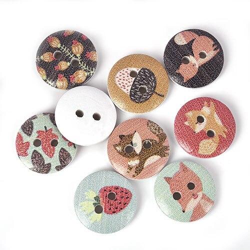 50 шт., новые круглые деревянные пуговицы с цветочным принтом, 2 отверстия, 15 мм, разные цвета, для шитья, деревянные пуговицы, аксессуары для украшения одежды, сделай сам - Цвет: A-02