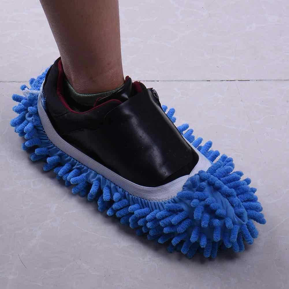 Çok fonksiyonlu Şönil Fiber Yıkanabilir Toz Paspas Terlik Temizleme Ayakkabı Tembel Paspas Ayakkabı Ev Temiz Kapak Mendil Ayakkabı Kafa 1 adet