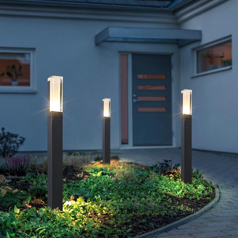新スタイル防水 Led ガーデン芝生ランプ近代的なアルミ柱ライト屋外の中庭の別荘風景芝生ボラード光