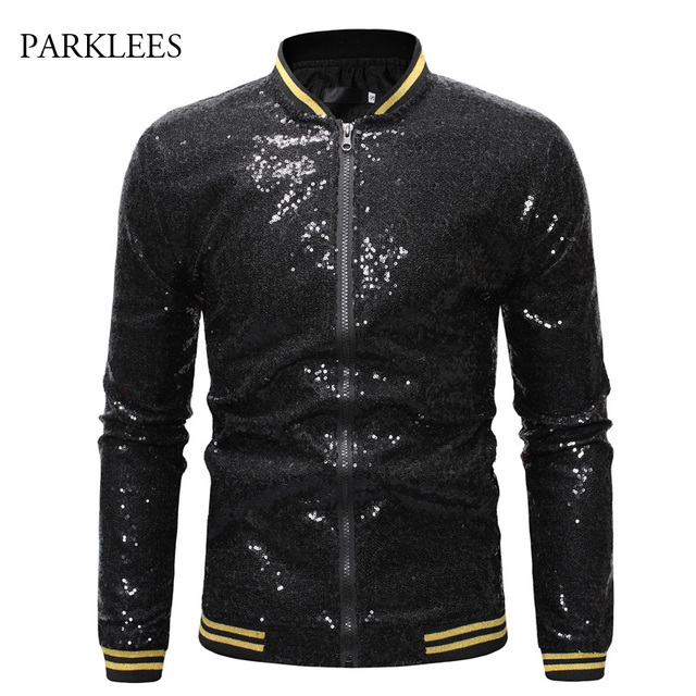 b97034b9a US $23.96 49% OFF|Sequins Bomber Jacket Men 2019 Shiny Sparkle Glitter  Zipper Mens Jackets And Coats Party Prom DJ Dance Stage Perform Veste  Homme-in ...