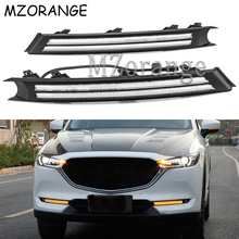 Car Accessories Daytime Running Lights For Mazda CX-5 CX5 2017 2018 Flowing Turn Signal Waterproof Car 12V DRL LED Decoration цена