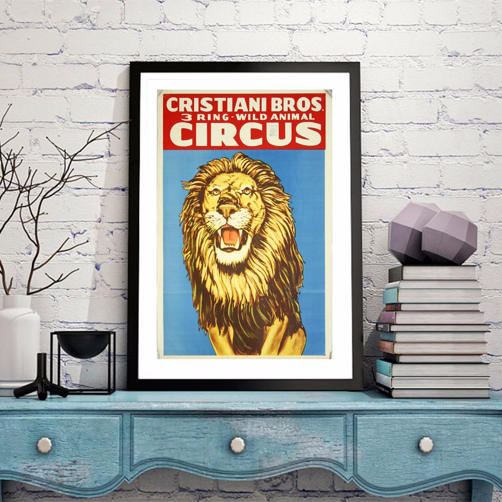 Circus Lion Vintage Canvas Art Print Painting Poster Wall ...