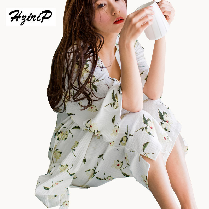 HziriP 2017 Spring Summer Pajamas Women Fashion Sleepwear Three Piece Casual Sets Floral Shirt Pants Ladies Set Suit for Home