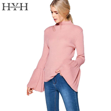 HYH HAOYIHUI Solid 2 Colors Turtleneck Knitted Women Sweaters Bodycon Long Flare Sleeve Pullovers 2017 Autumn Winter Sweater(China)
