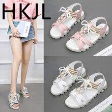HKJL 2019 summer new female sandals Korean version sweet flowers beaded princess girls beach shoes students flat A364