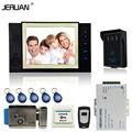 JERUAN 8`` TFT video doorphone Record intercom system Kit 700TVL RFID waterproof Touch Key camera 8GB SD CARD +Electric Lock