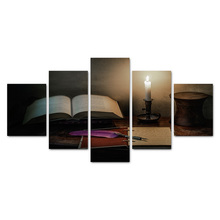5 Pieces Canvas Art Wall Pictures For Living Room Home Decor Still Life Unframed Painting Reading Desk With Dip Pen And Book